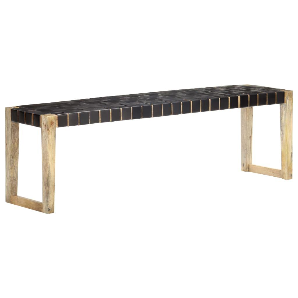 vidaXL Bancă, negru, 150 cm, piele naturală și lemn masiv de mango poza vidaxl.ro
