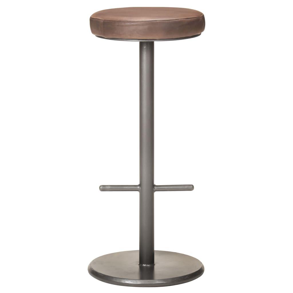 vidaXL Barkrukken 2 st echt leer verweerd bruin