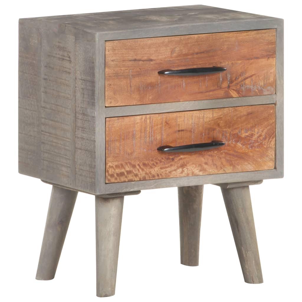 99321806 Nachttisch Grau 40x30x50 cm Raues Mango-Massivholz