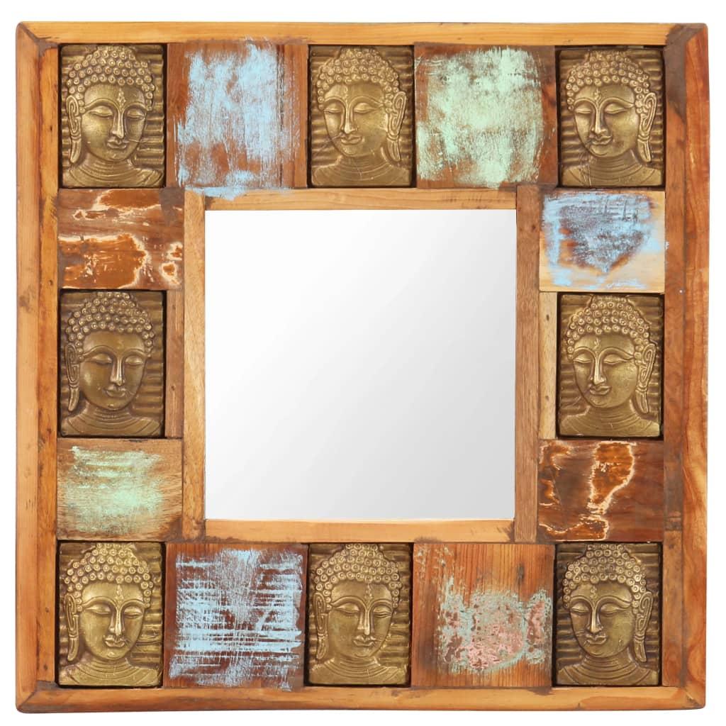 vidaXL Spiegel boeddha 50x50 cm massief gerecycled hout