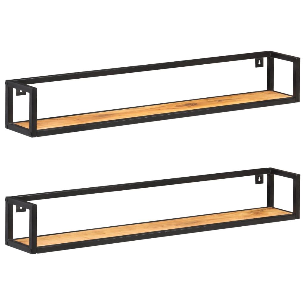 vidaXL Rafturi de perete, 2 buc., 120 cm, lemn masiv de acacia vidaxl.ro