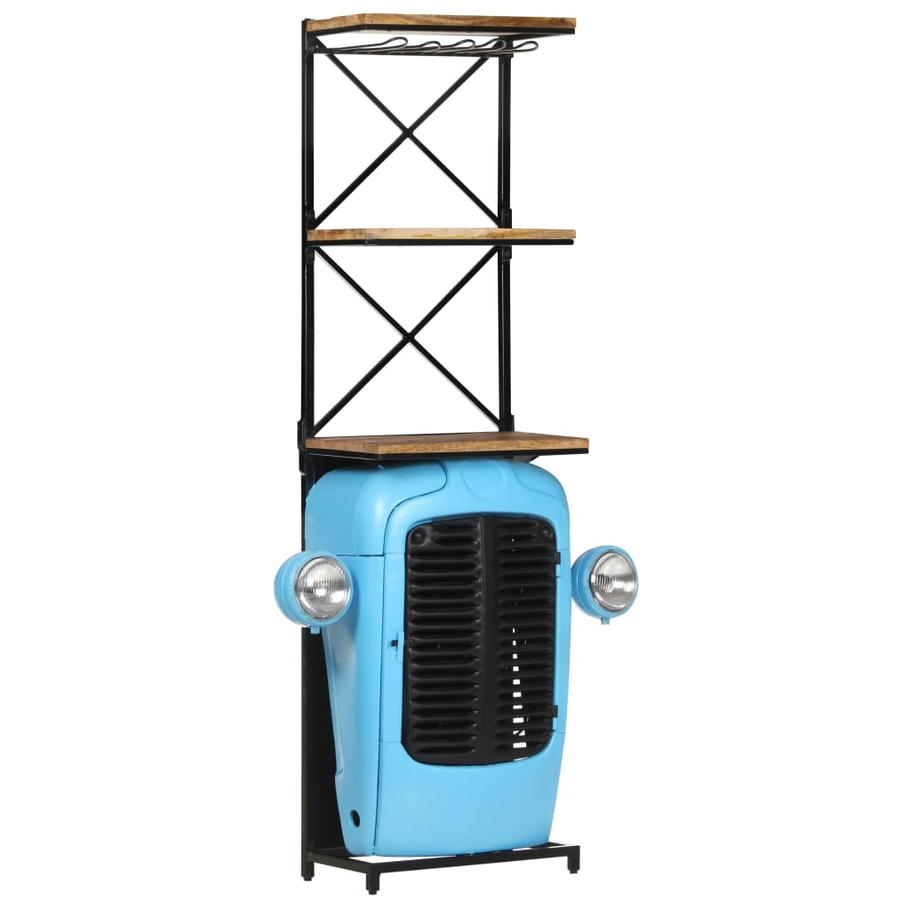 vidaXL Dulap vin tractor, albastru, 49x31x170 cm, lemn masiv mango vidaxl.ro