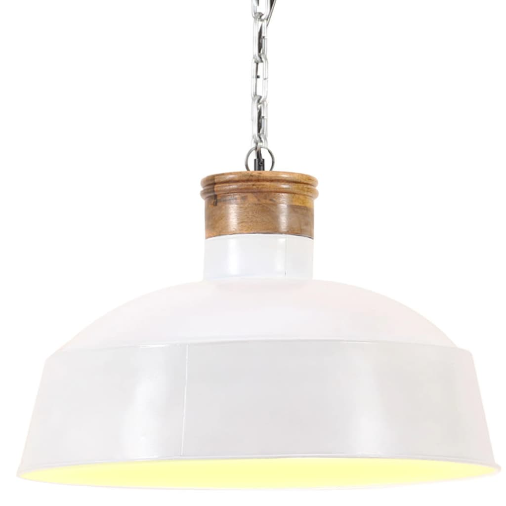 vidaXL Lampă suspendată industrială, alb, 58 cm, E27 poza vidaxl.ro