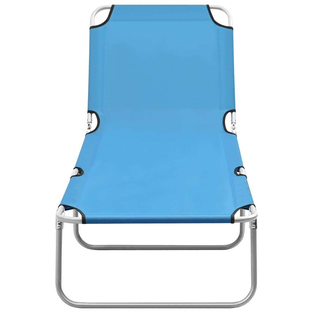 vidaXL Ligbed inklapbaar staal en stof turquoiseblauw