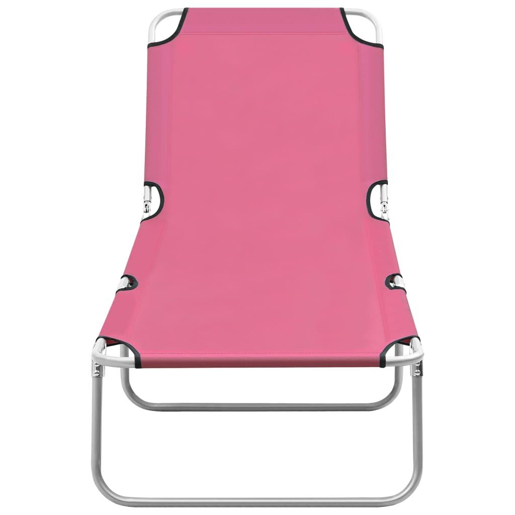 vidaXL Ligbed inklapbaar staal en stof roze