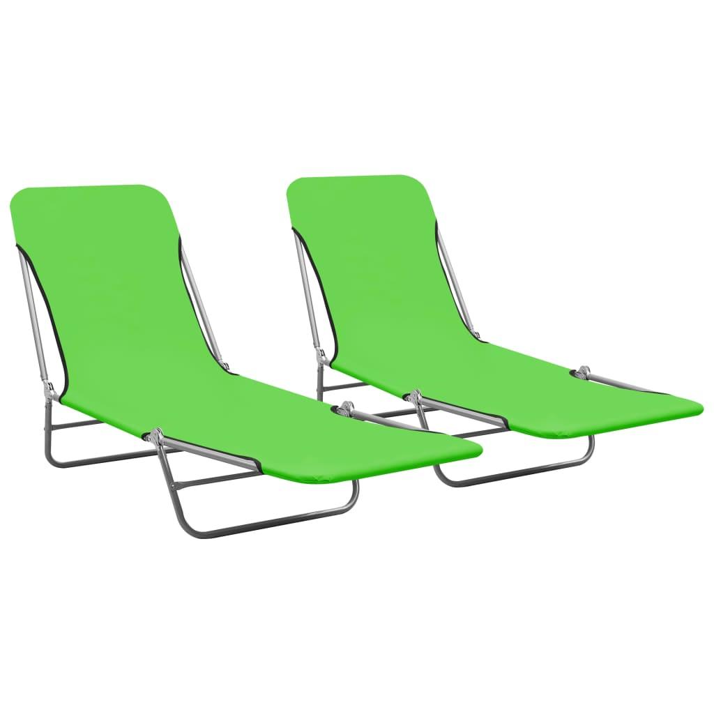 vidaXL Șezlonguri pliabile, 2 buc., verde, oțel & material textil imagine vidaxl.ro