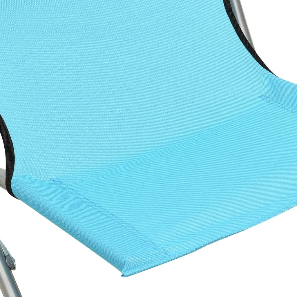 Strandstoelen 2 st inklapbaar stof turquoise