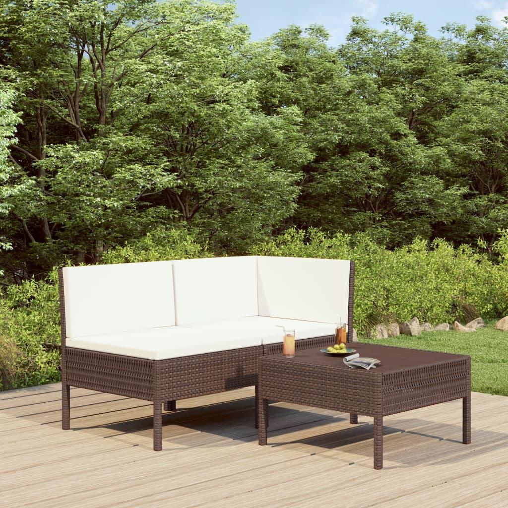 3dílná zahradní sedací souprava s poduškami polyratan hnědá