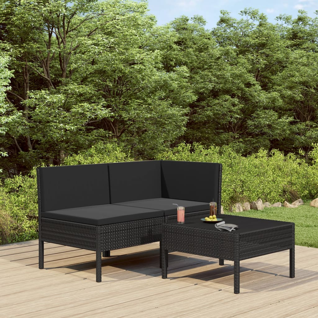3dílná zahradní sedací souprava s poduškami polyratan černá