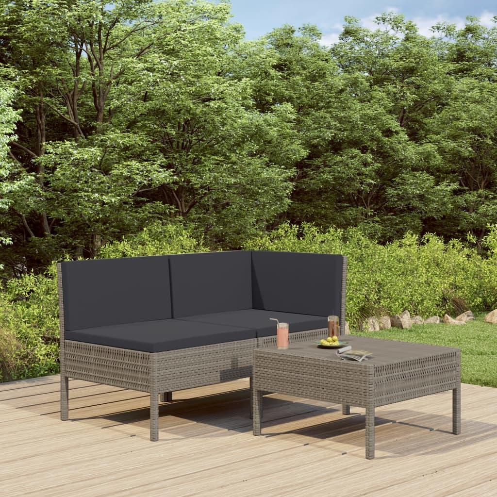 vidaXL 3-cz. zestaw wypoczynkowy do ogrodu, poduszki, rattan PE, szary