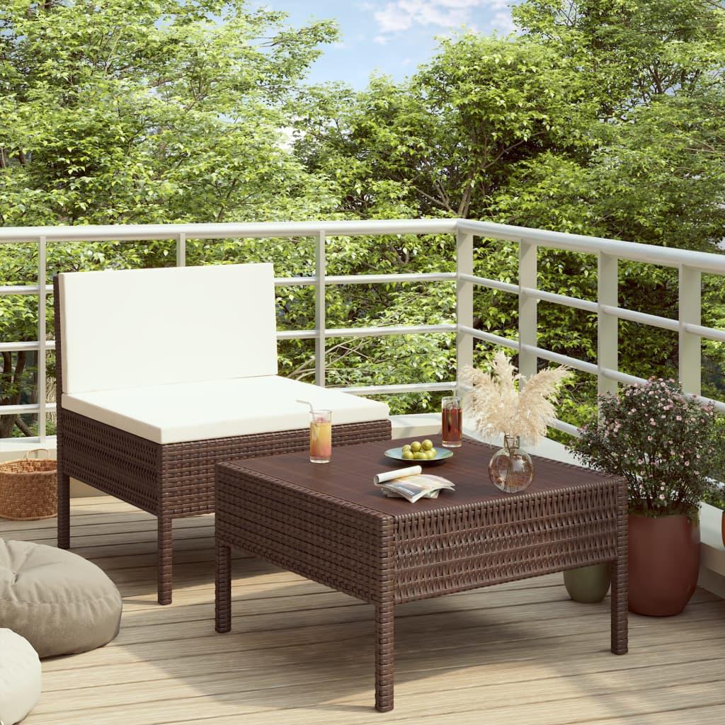 2dílná zahradní sedací souprava s poduškami polyratan hnědá