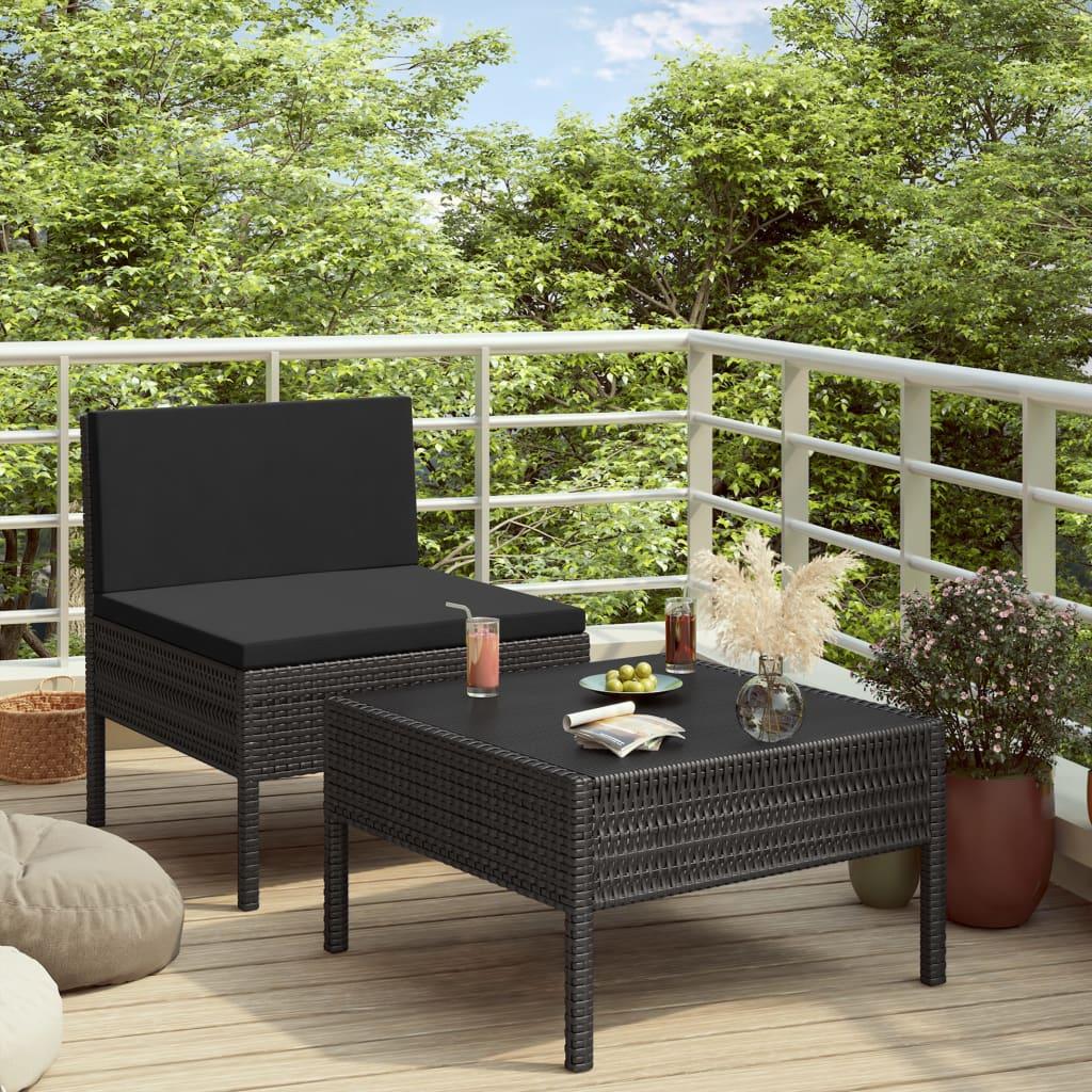 2dílná zahradní sedací souprava s poduškami polyratan černá