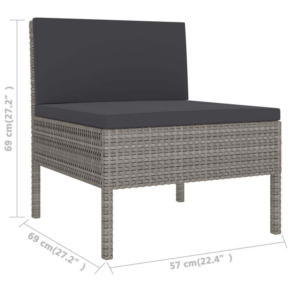 vidaXL 2-delige Loungeset met kussens poly rattan grijs