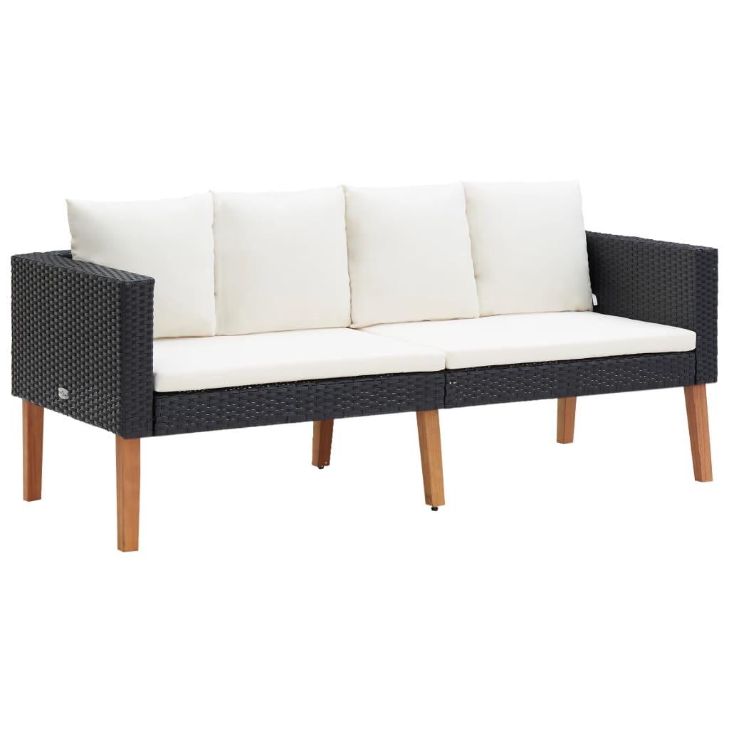 vidaXL Canapea de grădină cu 2 locuri, cu perne, negru, poliratan vidaxl.ro