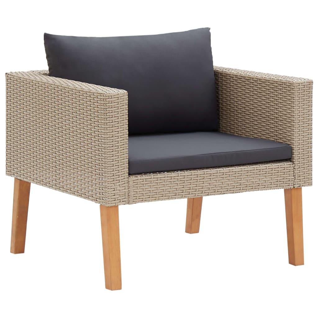 1-Sitzer-Gartensofa mit Auflagen Poly Rattan Beige
