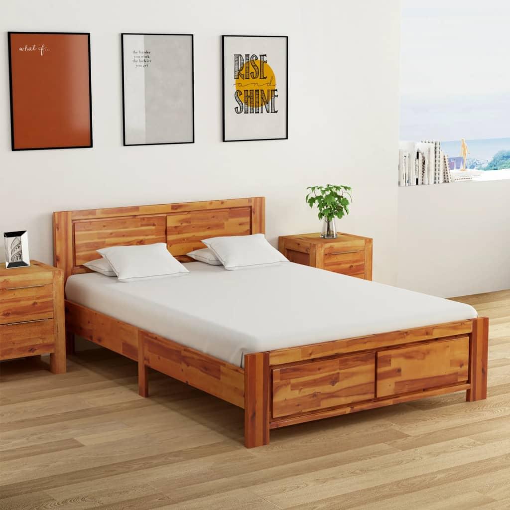 Rám postele se 2 nočními stolky masivní akácie hnědá 140x200 cm