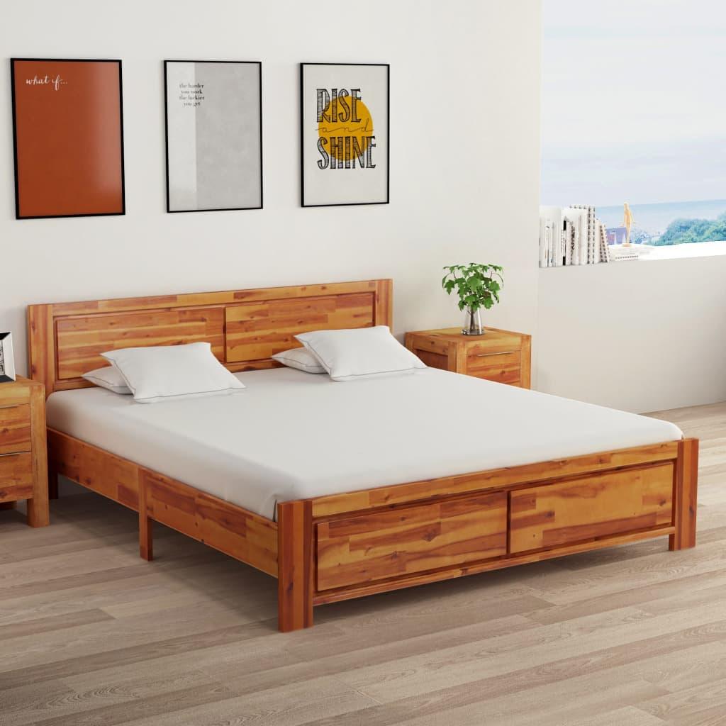 vidaXL Cadru de pat cu 2 noptiere, 160 x 200 cm, lemn masiv de acacia imagine vidaxl.ro