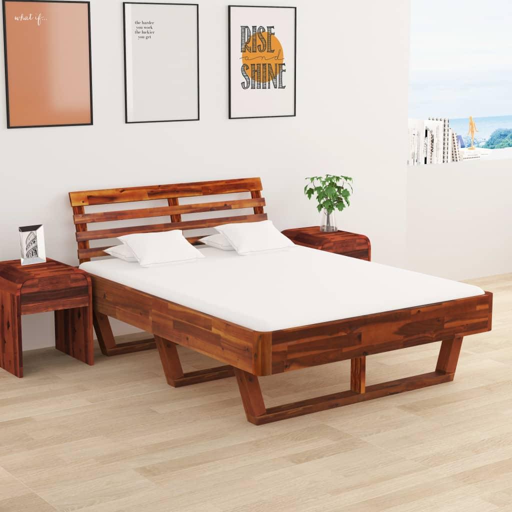 vidaXL Cadru de pat cu 2 noptiere, 140 x 200 cm, lemn masiv de acacia imagine vidaxl.ro
