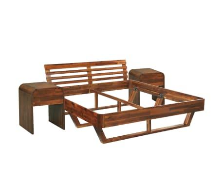 vidaXL Cadru de pat cu 2 noptiere, 180 x 200 cm, lemn masiv de acacia