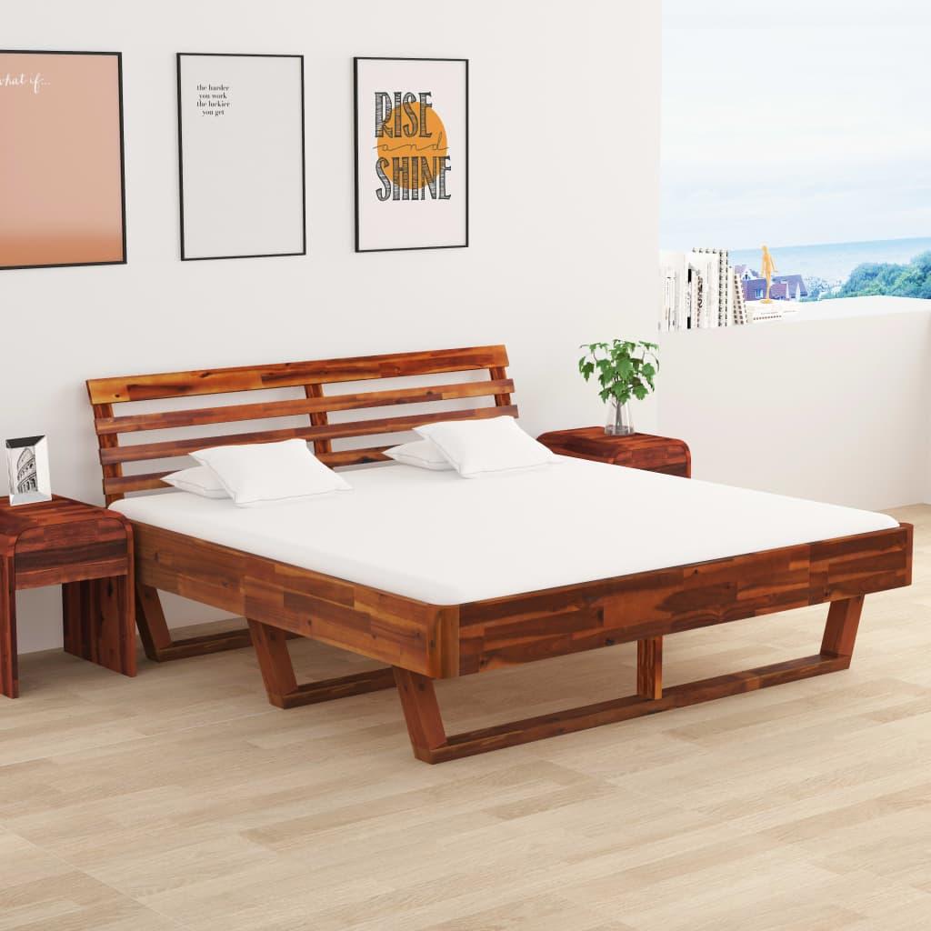 vidaXL Cadru de pat cu 2 noptiere, 180 x 200 cm, lemn masiv de acacia imagine vidaxl.ro