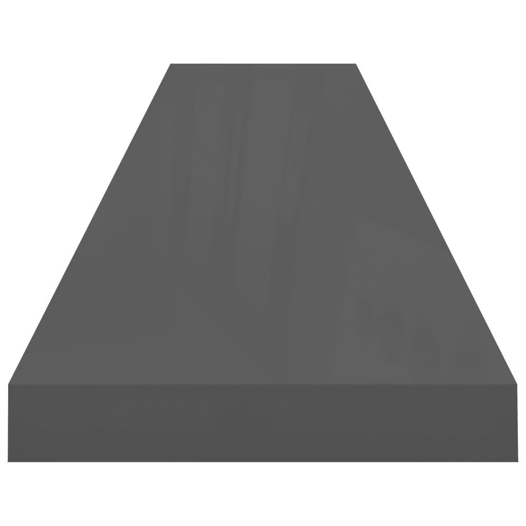 vidaXL Wandschappen zwevend 4 st 120x23,5x3,8 cm MDF hoogglans grijs