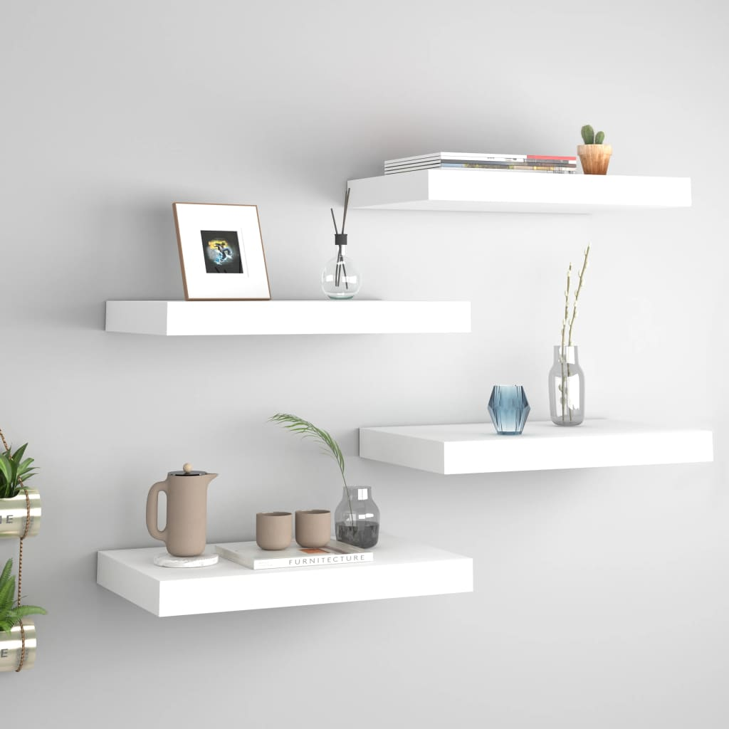 vidaXL Rafturi de perete suspendate, 4 buc., alb, 40x23x3,8 cm, MDF vidaxl.ro