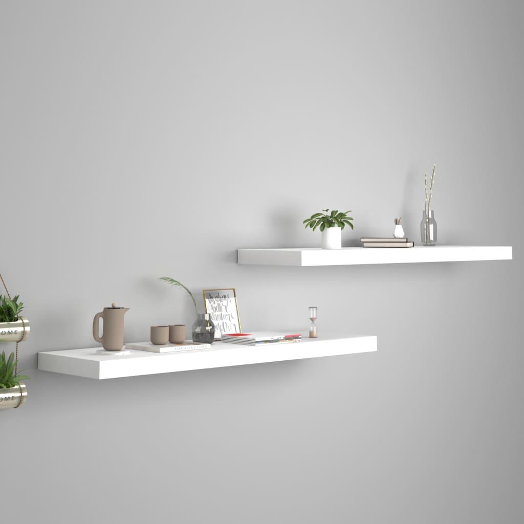 vidaXL Rafturi de perete suspendate, 2 buc., alb, 90x23,5x3,8 cm, MDF vidaxl.ro