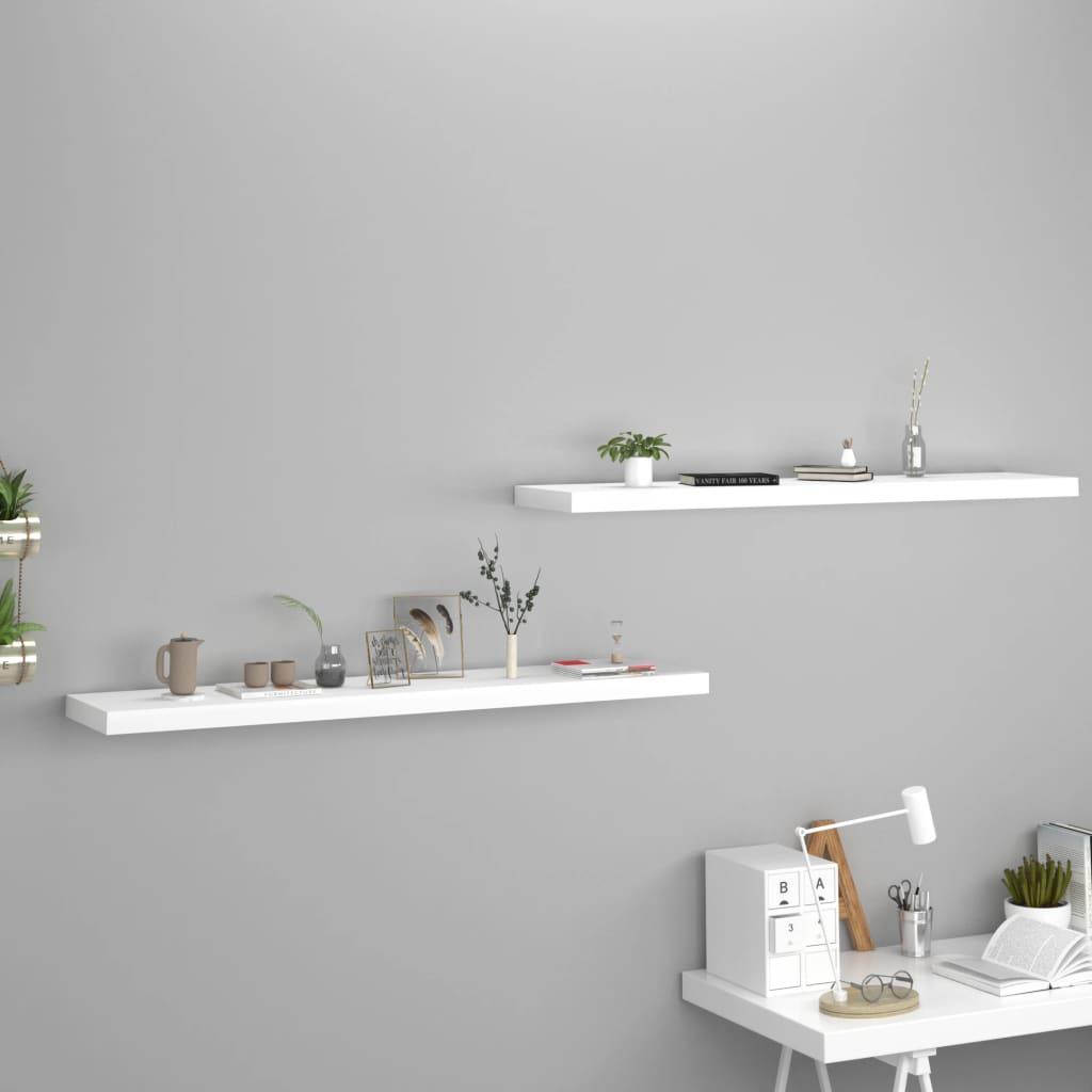 vidaXL Rafturi de perete suspendate, 2 buc., alb, 120x23,5x3,8 cm, MDF poza vidaxl.ro
