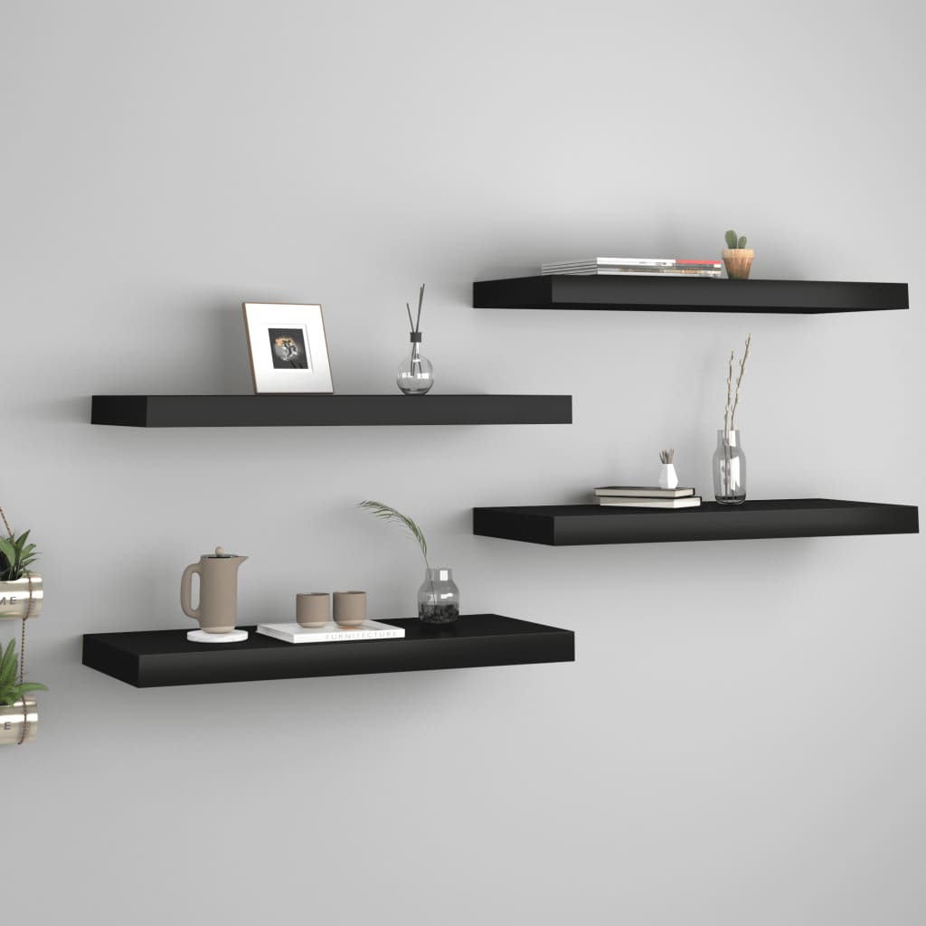 vidaXL Rafturi de perete, 4 buc., negru, 60 x 23,5 x 3,8 cm, MDF poza 2021 vidaXL
