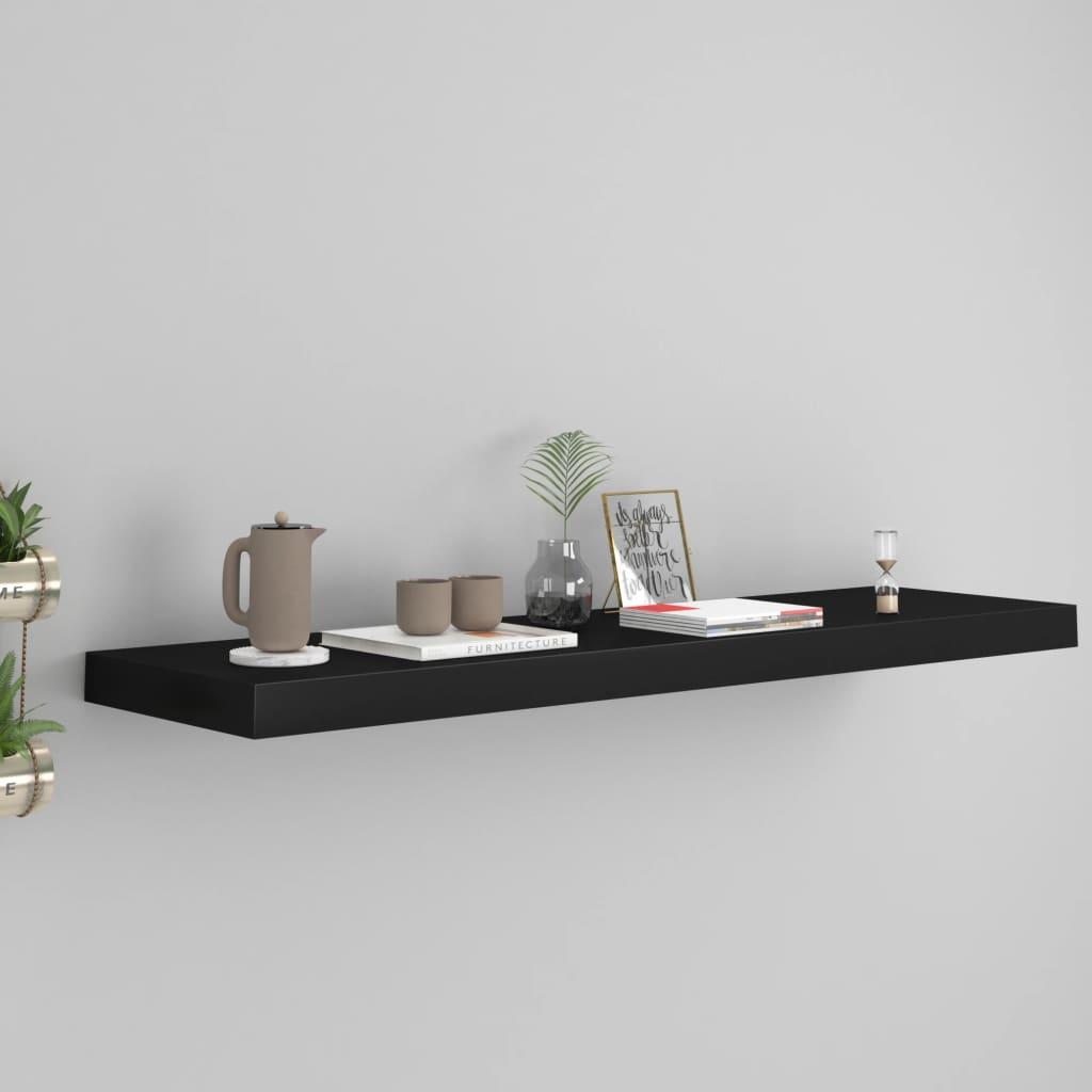 vidaXL Raft de perete suspendat, negru, 90x23,5x3,8 cm, MDF poza vidaxl.ro