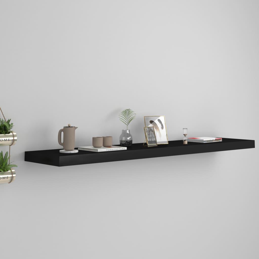 vidaXL Raft de perete suspendat, negru, 120x23,5x3,8 cm, MDF imagine vidaxl.ro