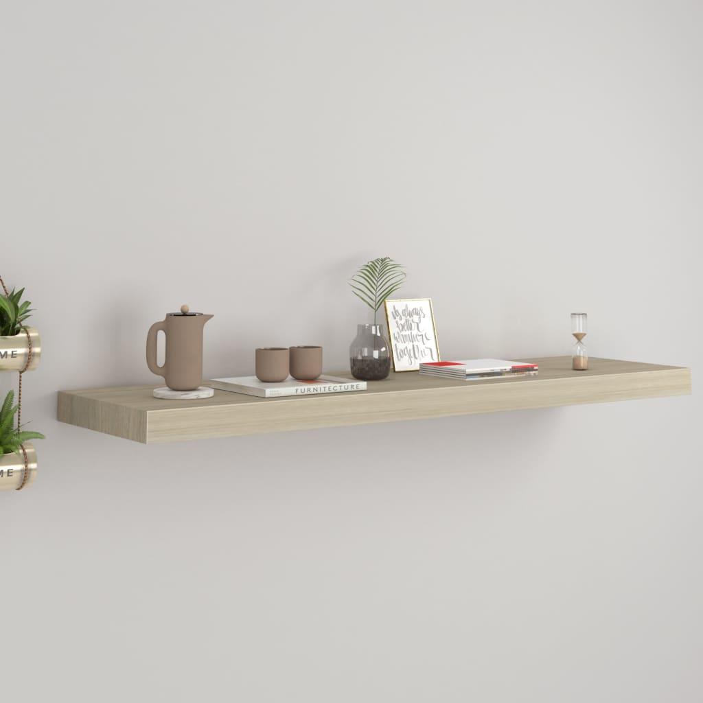vidaXL Raft de perete suspendat, stejar, 90x23,5x3,8 cm, MDF imagine vidaxl.ro