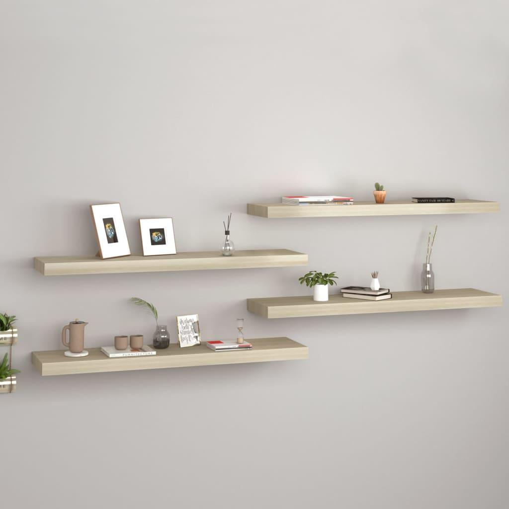 vidaXL Rafturi de perete suspendate 4 buc. stejar, 90x23,5x3,8 cm, MDF poza vidaxl.ro