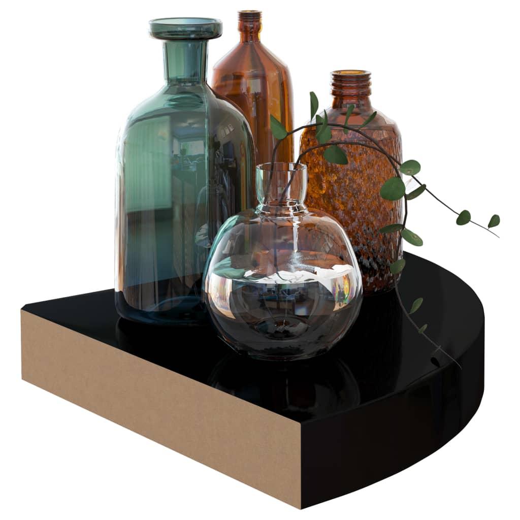 vidaXL Hoekschappen zwevend 2 st 25x25x3,8 cm MDF hoogglans zwart