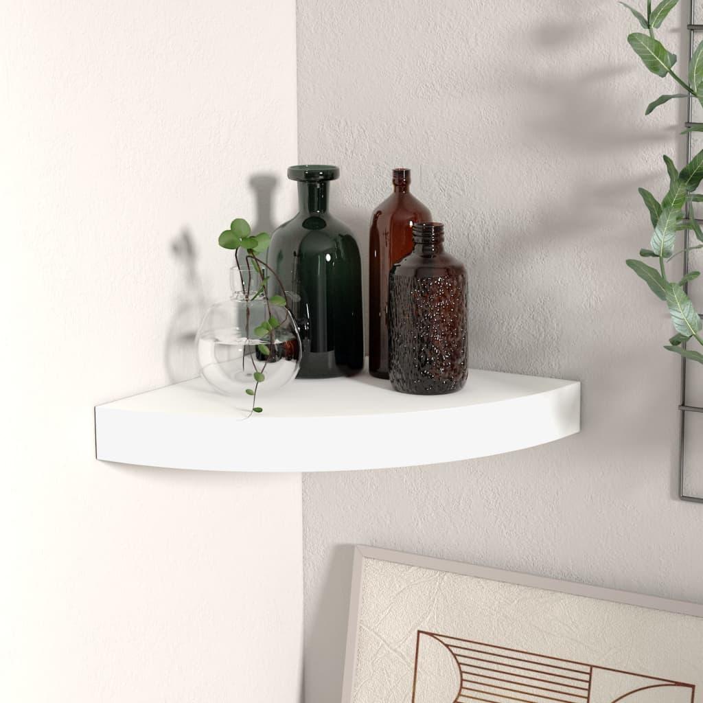 vidaXL Raft colțar de perete, alb, 25 x 25 x 3,8 cm, MDF poza vidaxl.ro