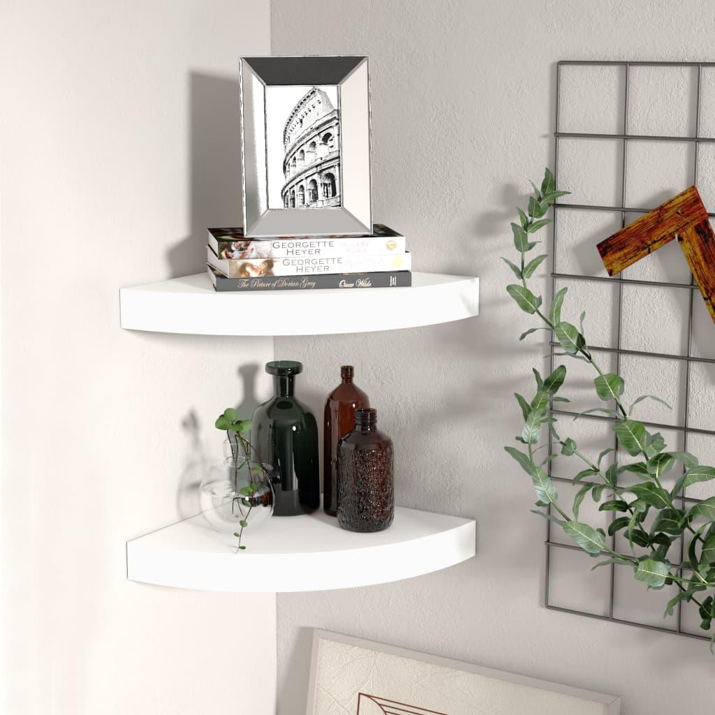 vidaXL Rafturi colțar de perete, 2 buc., alb, 25 x 25 x 3,8 cm, MDF vidaxl.ro