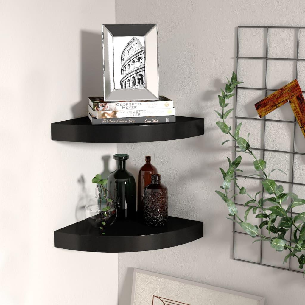 vidaXL Rafturi colț de perete, 2 buc., negru, 25x25x3,8 cm, MDF vidaxl.ro