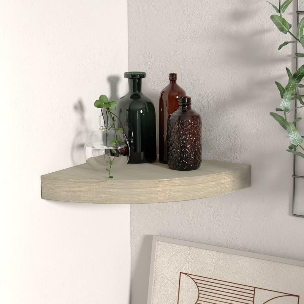 vidaXL Raft colțar de perete, stejar, 25 x 25 x 3,8 cm, MDF poza vidaxl.ro