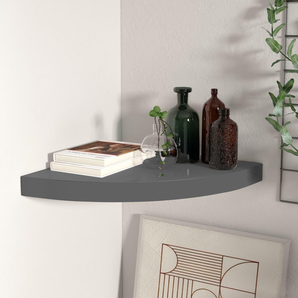 vidaXL Raft colțar de perete, gri extralucios, 35 x 35 x 3,8 cm, MDF poza vidaxl.ro