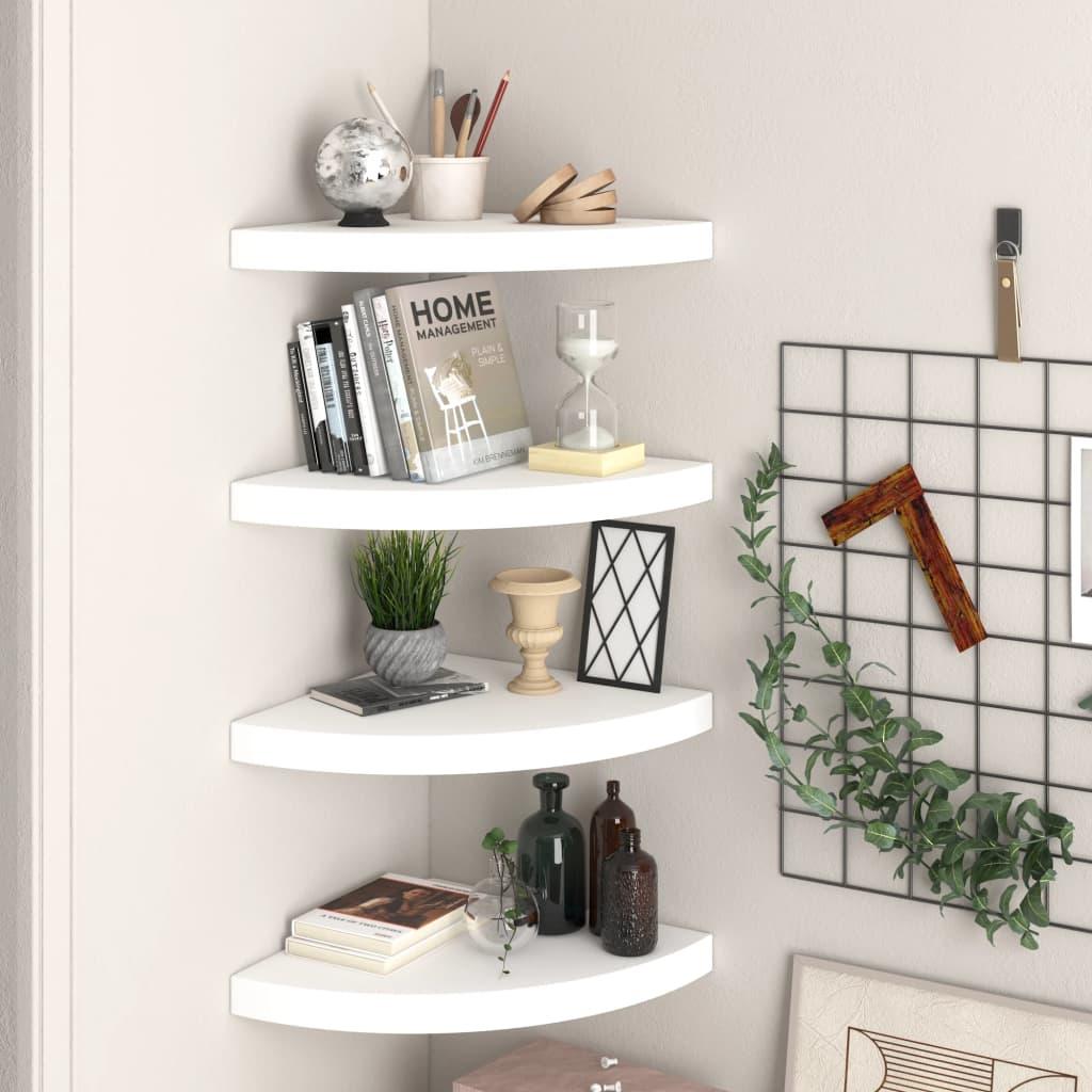 vidaXL Rafturi colțar de perete, 4 buc., alb, 35 x 35 x 3,8 cm, MDF poza vidaxl.ro