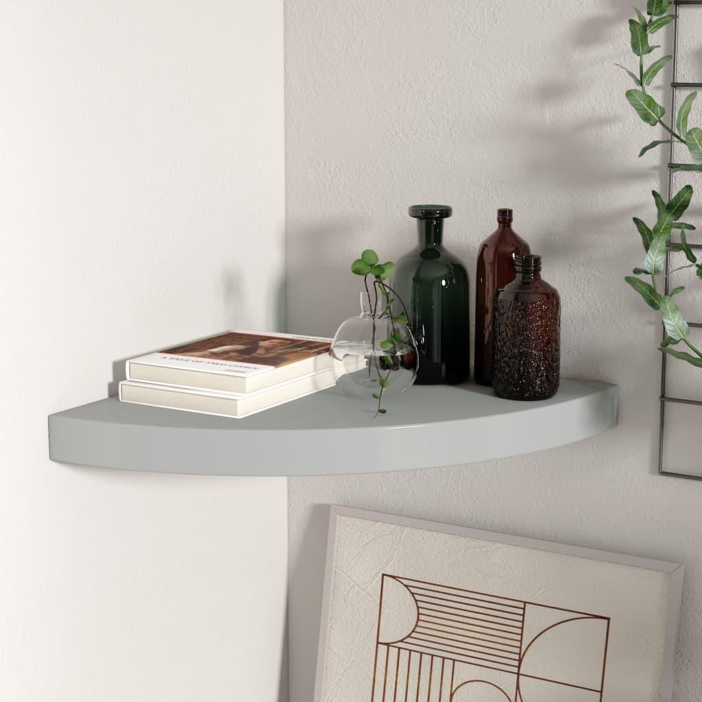 vidaXL Raft colțar de perete, gri, 35 x 35 x 3,8 cm, MDF poza vidaxl.ro