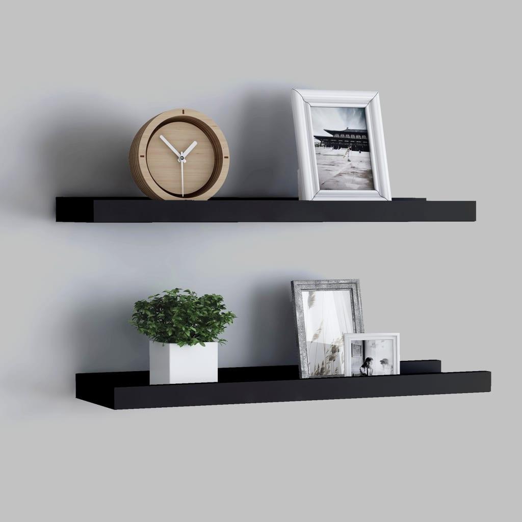 vidaXL Rafturi rame foto cu bordură, 2 buc., negru, 60 x 9 x 3 cm, MDF poza 2021 vidaXL