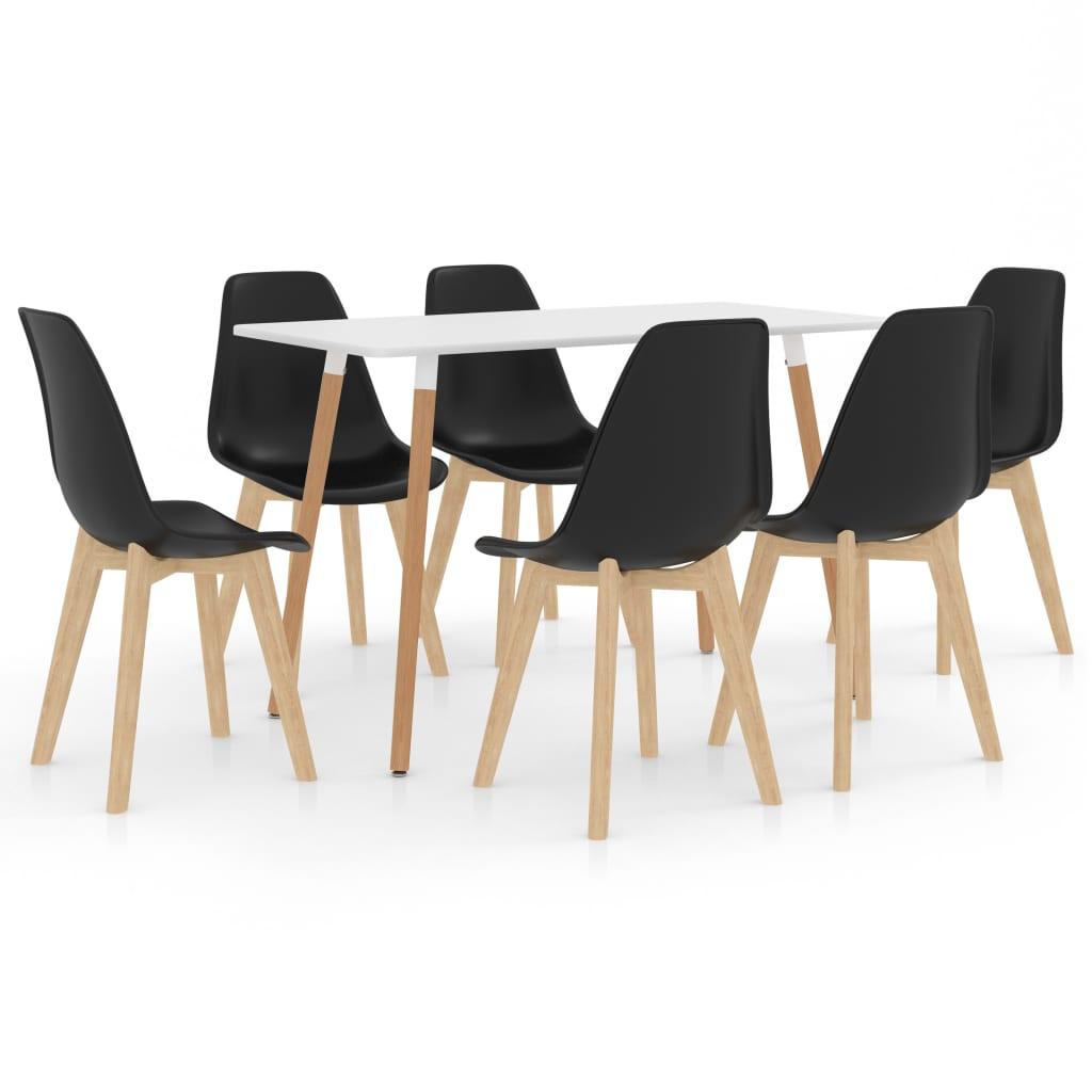 vidaXL Set de mobilier de bucătărie, 7 piese, negru poza vidaxl.ro