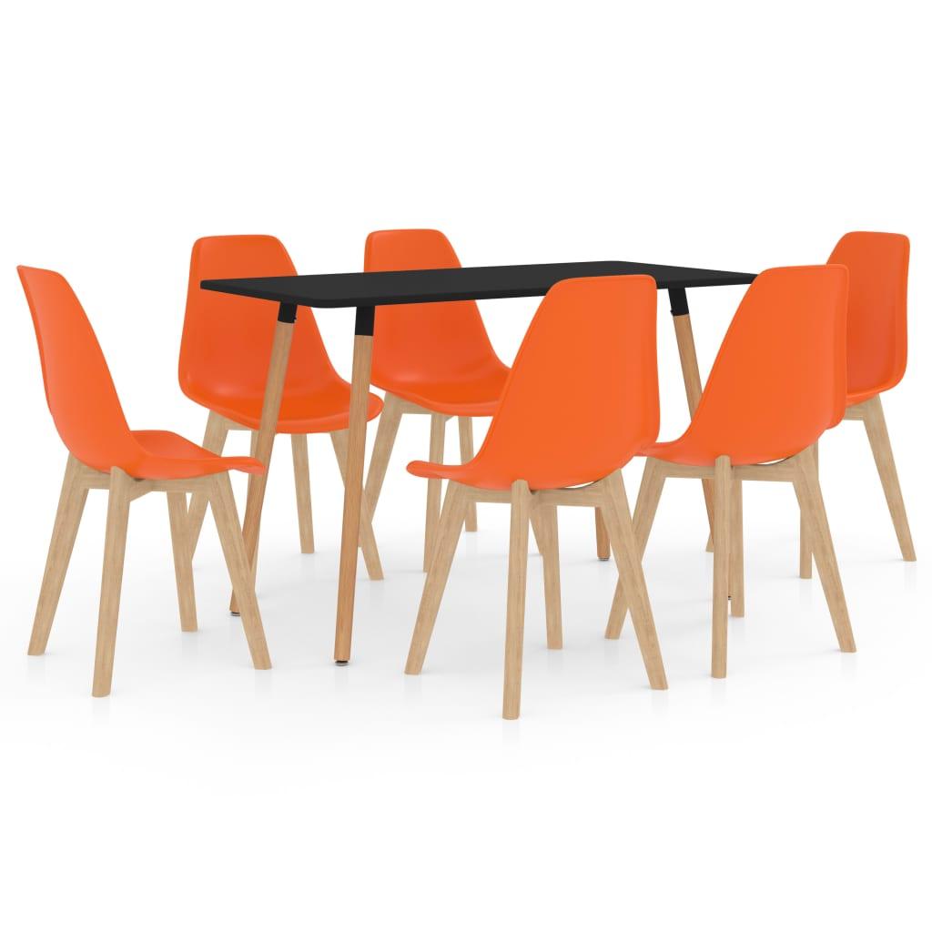 vidaXL Set mobilier de bucătărie, 7 piese, portocaliu poza 2021 vidaXL