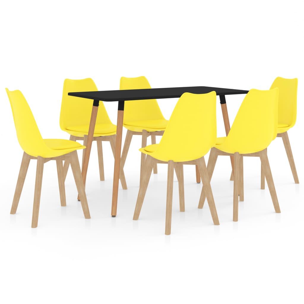 vidaXL 7-delige Eethoek geel