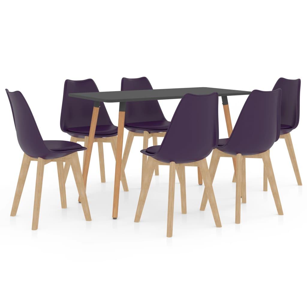 vidaXL spisebordssæt 7 dele mørklilla