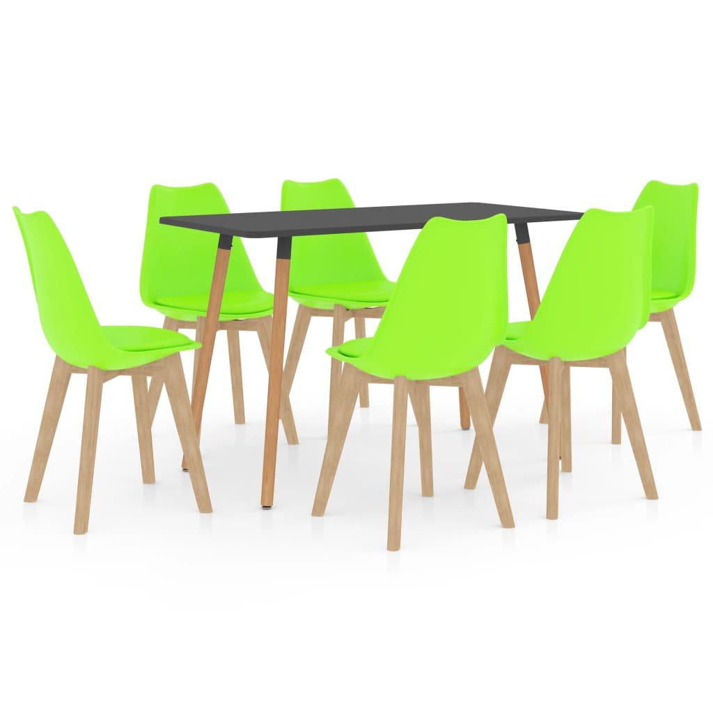 vidaXL spisebordssæt 7 dele grøn