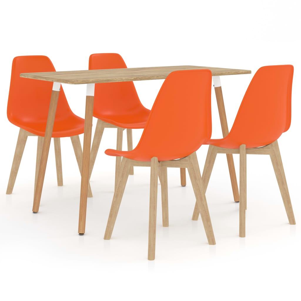 vidaXL Set mobilier de bucătărie, 5 piese, portocaliu poza vidaxl.ro