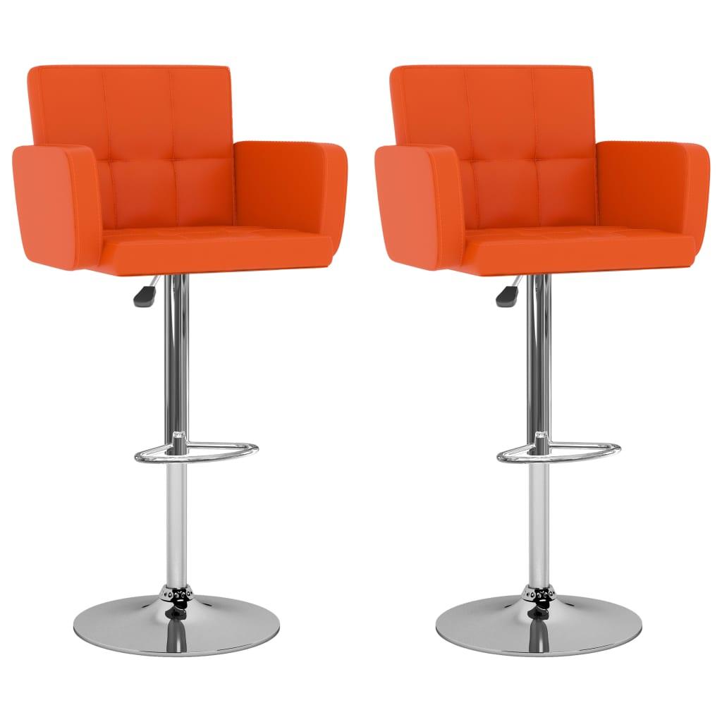 vidaXL Scaune de bar, 2 buc., portocaliu, piele ecologică imagine vidaxl.ro