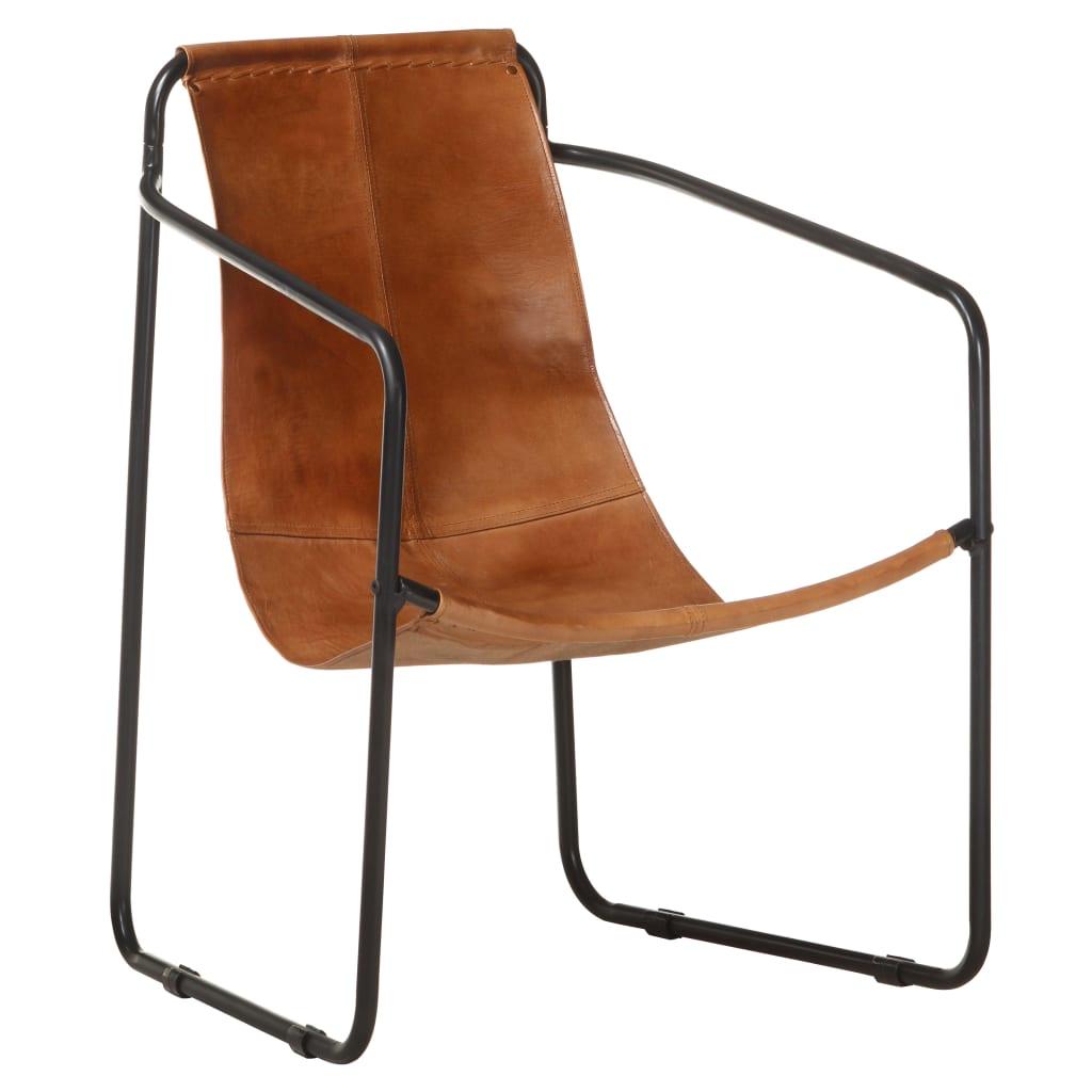 vidaXL Fotelja za opuštanje od prave kože smeđa